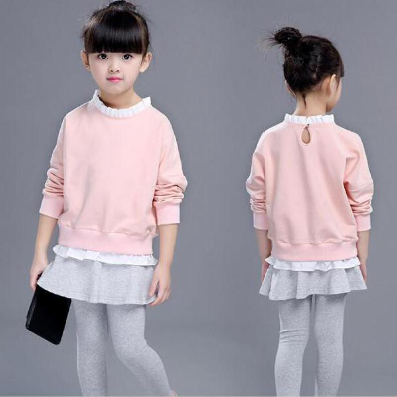 2018 Kids Baby Girls Clothes Set Long Sleeve O Neck Tops Sweatshirts + Skirts Legging Girls Clothing Sets 2pcs Outfits 10 12 14 garyduck girls clothing sets kids knitted suits long sleeve houndstooth tops skirts 2pcs for girls suits