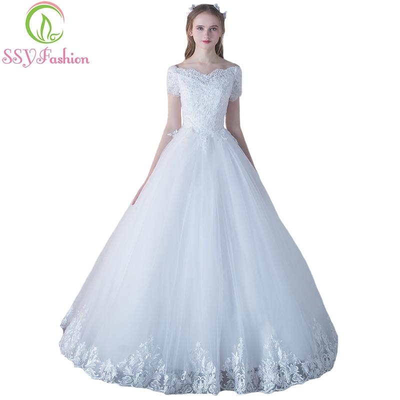 Ssyfashion Long Sleeve Wedding Dresses The Bride Elegant: SSYFashion New The Bride Married Elegant Wedding Dress