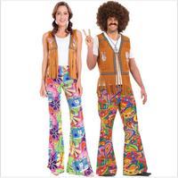 New Arrival! Ladies Mens 60s 70s Retro Hippie Go Go Girl Disco Costume Fancy Dress Hen Xmas Party Couple Costumes
