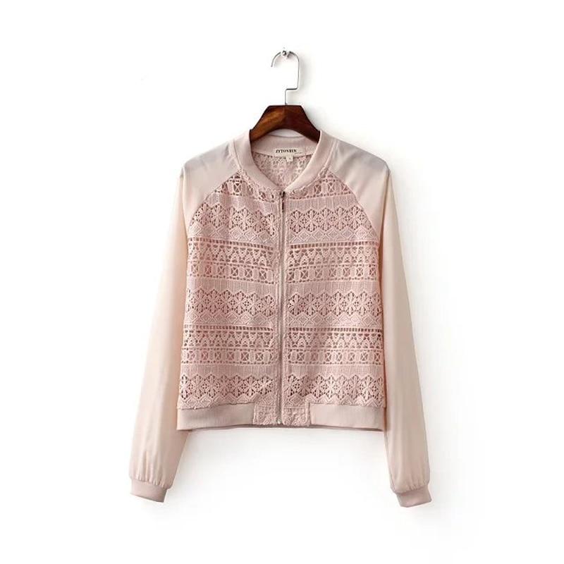 aa495af6ad493 2017 verão mulheres casaco de moda de nova crochet jaqueta bomber jacket  mulheres de slim Lace manga comprida