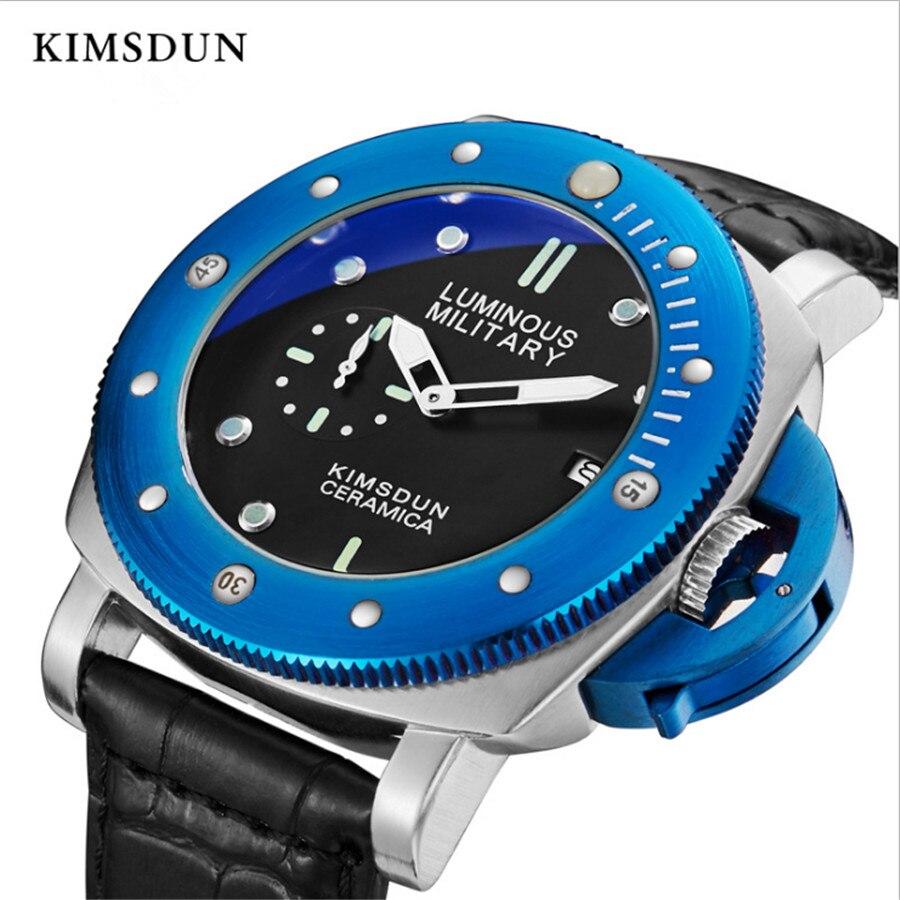 Top Marque De Luxe Hommes de chronographe à quartz Montre Sport Militaire décontracté montre pour homme Mâle KIMSDUN De Mode bracelet de montre cuir Montre