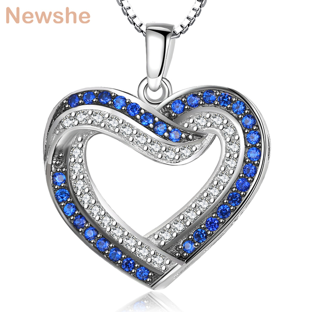 Newshe Elegant Pendant Come With 925 Sterling Silver Necklace Box Chain Blue and White CZ Romantic Jewelry Gift For Women