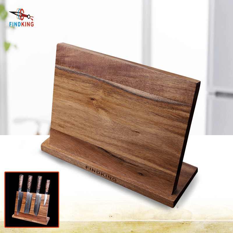 Findking, soporte magnético para cuchillos de madera de Acacia, bloque de cuchillos, soporte para cuchillos, organizador de almacenamiento para cuchillos, conjunto