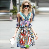 Summer Women S European Slim Mulberry Silk Dress Brand Silk Dresses Printing Summer Unique Tribe M