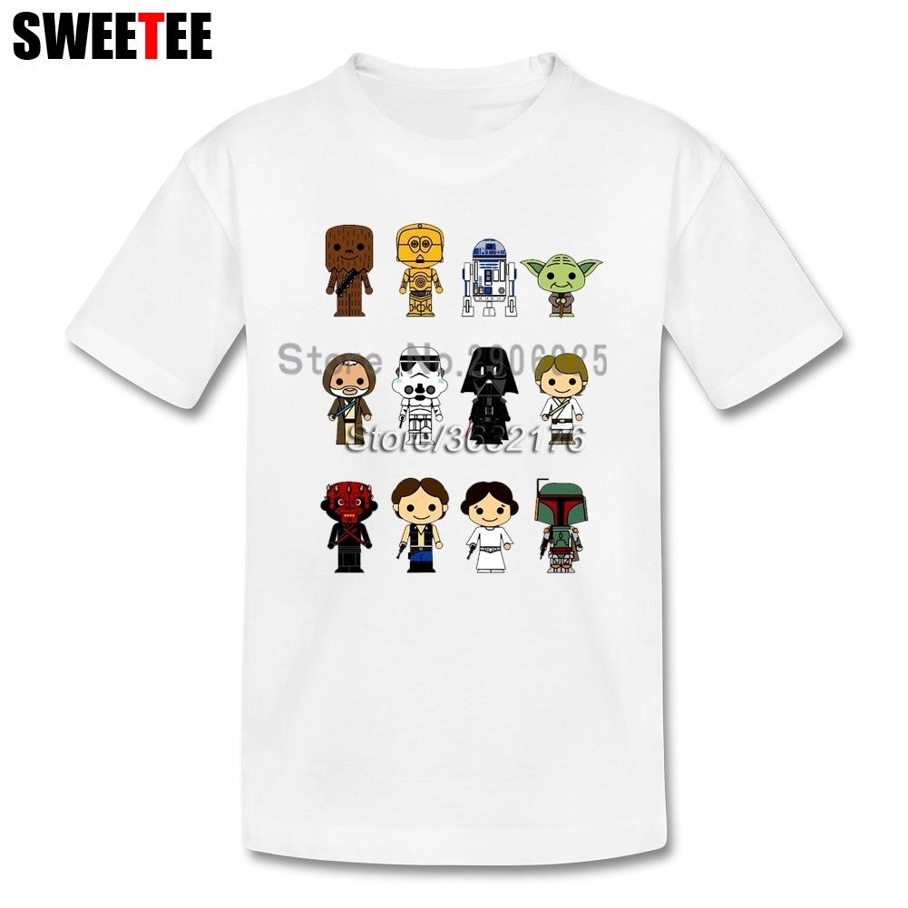 Star Wars Characters R2-D2 DARTH VADER Yoda Chewbacca c-3p0 Boba Fett Shirt Baby Boys Girls T Shirt For Toddler 4T-8T T-Shirt