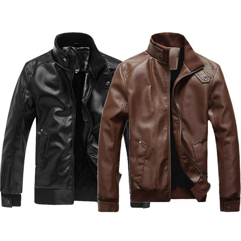 WENYUGH 2019 Новая модная Осенняя мужская кожаная куртка плюс размер 3XL черные коричневые мужские пальто с воротником-стойкой кожаные байкерские куртки
