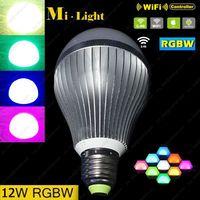 AC85 265V 2 4G Mi Light E27 12W RGBW Or RGBWW LED Smart Bulb Aluminum Housing