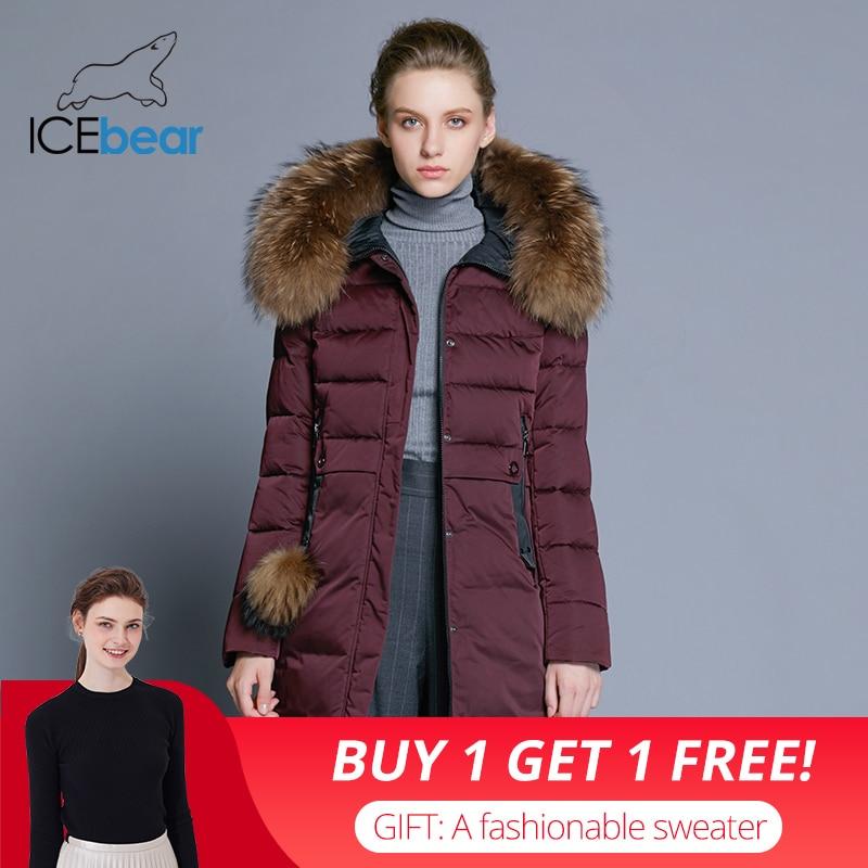 ICEbear 2018 d'hiver de femmes long manteau mince femelle veste animal col de fourrure marque vêtements épais chaud coupe-vent parka GWD18253