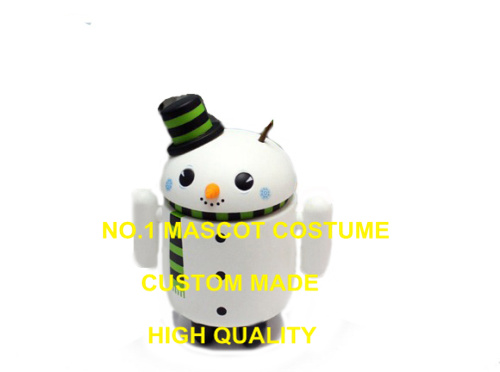Cute Android Snowman Mascot Costume Adult Professional Custom Advertising Robot Android Mascotte Fancy Dress Kits 2022