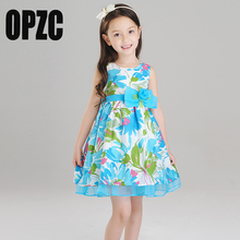 OPZC Princess Girls Dress Sleeveless 2017 Autumn Brand Children Party Dress Printed Kids Dresses for Girls Clothing