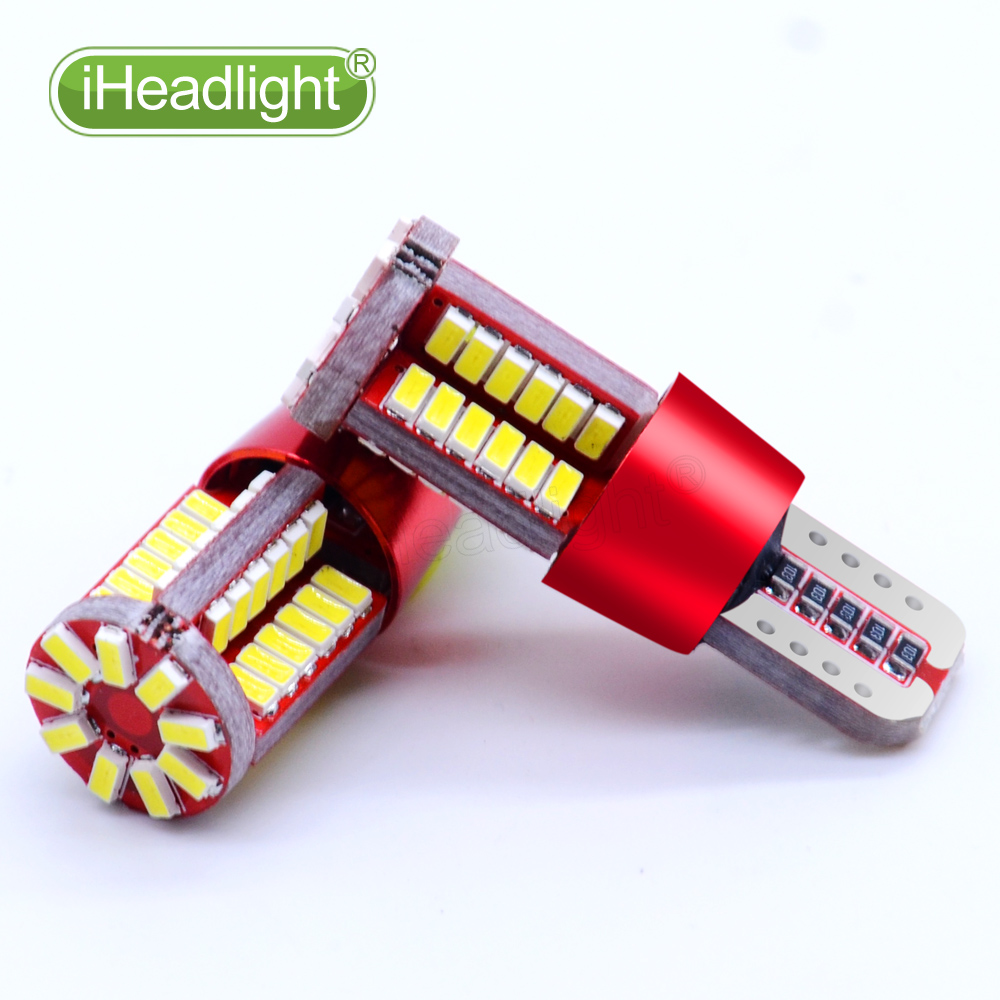 1PCST10 LED 12v Car Turn Signal room lamp Bulb White Led width light W5W  Wedge 57smd 3014Car tail high-mount stop