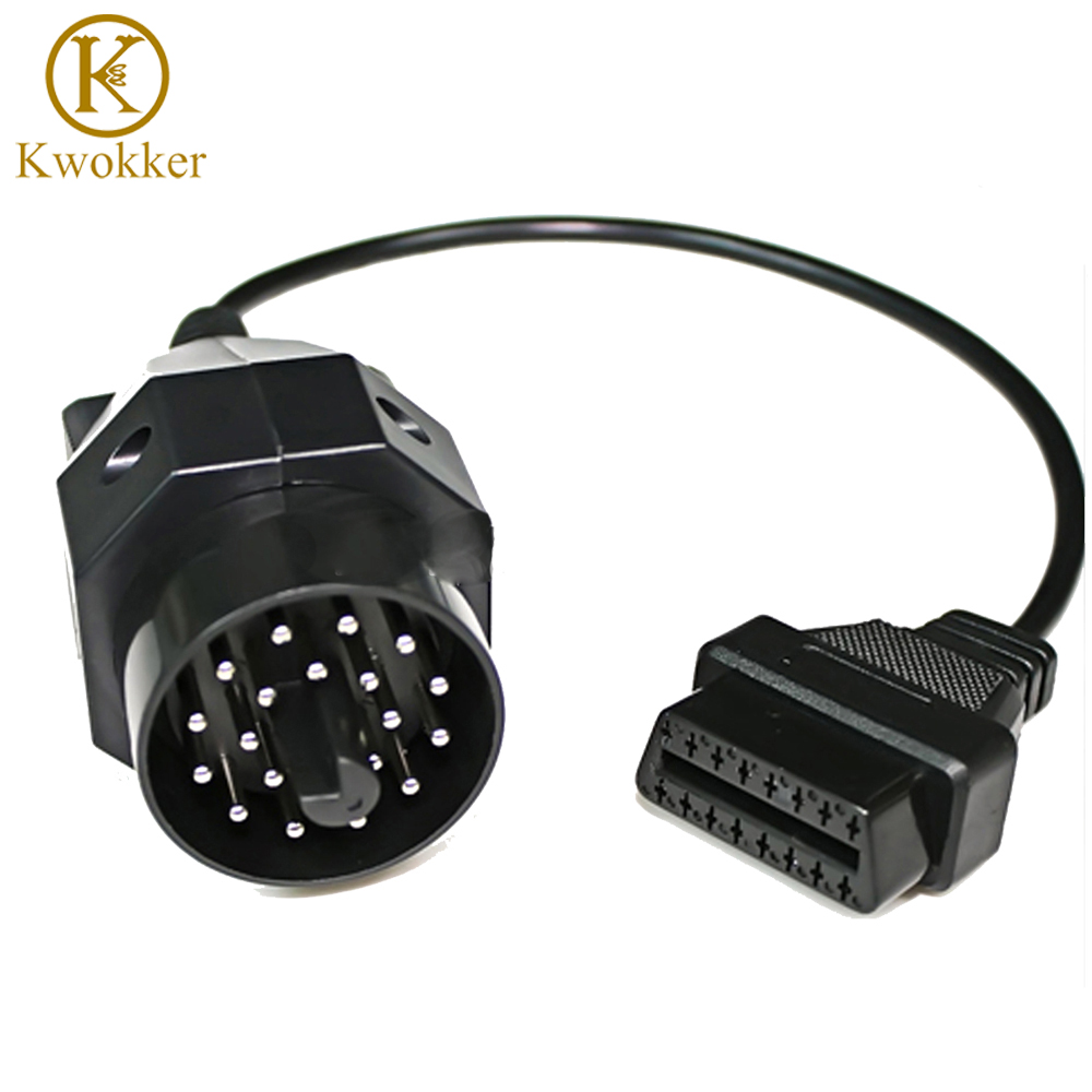 KWOKKER 10pcs For bmw 20 pin Male TO 16PIN Female OBD2 Cable Car Auto Diagnostic Connector