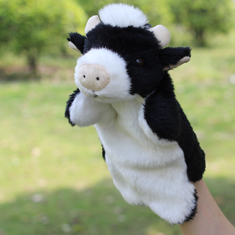 Children hand puppet large small animal bull Plush puppet toys for baby kids tell story toy
