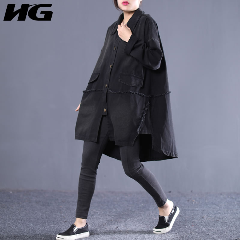 [HG] 2019 Spring Fashion New Turn-down Collar Full Sleeve Casual Coat Female Solid Color Pocket Single Breasted   Trench   ZLL3094
