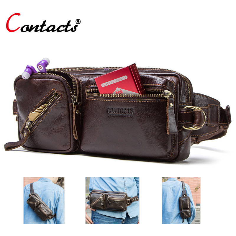 Contact s genuine leather fanny pack men waist bag men belt bag bum leather pouch chest