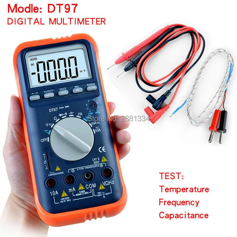 HONEYTEK DT97 Digital LCD Multimeter Meter Current AC/DC Voltage Resistance Capacitance Frequency Temperature Tester Detection  цены