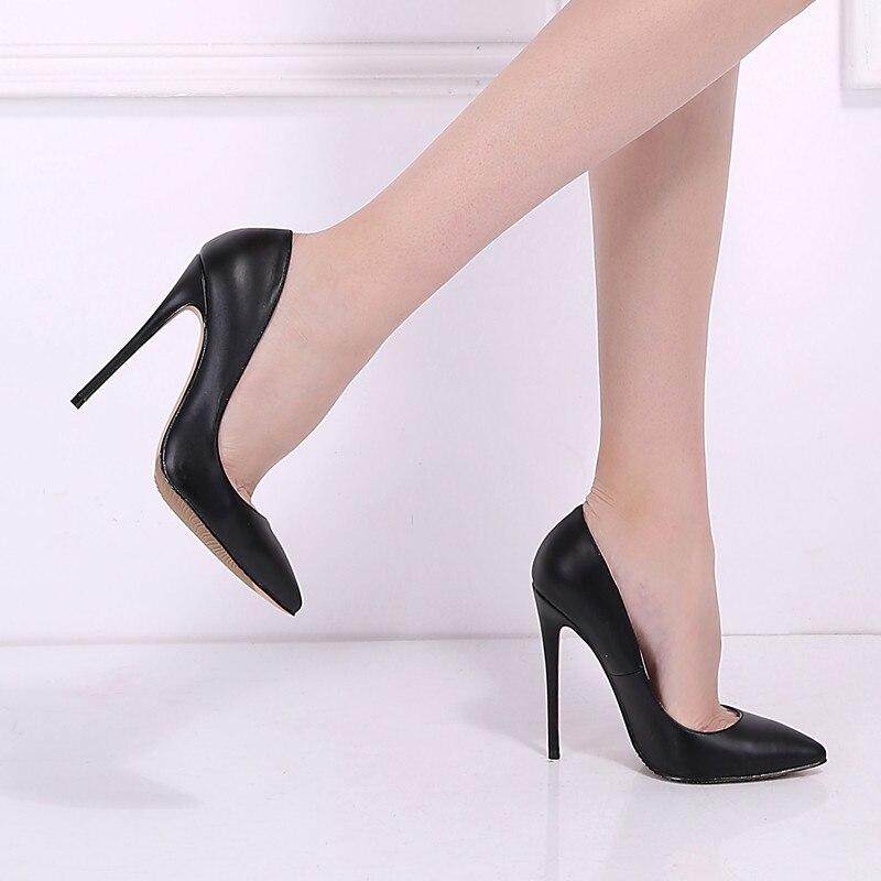 Marque chaussures pour femme talons hauts chaussures pour femmes Pompes chaussures à talons aiguilles Pour Les Femmes Noir talons hauts 12 CM PU En Cuir chaussures de mariage B-0051 - 5