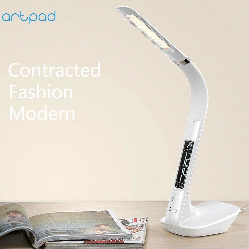 ArtPad Swan Design Desktop Lamp Flexible Gooseneck DC12V Touch Dimmer Office LED Table Lamp With Clock Calendar Display