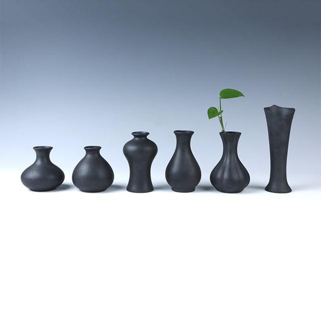 European Modern Fashion Black Ceramic Flower Vase Decorative Vases Home  Decoration Modern Or Wedding Decoration Vaso