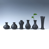 European Modern Fashion Black Ceramic Flower Vase Decorative Vases Home decoration modern or Wedding Decoration Vaso Free Ship