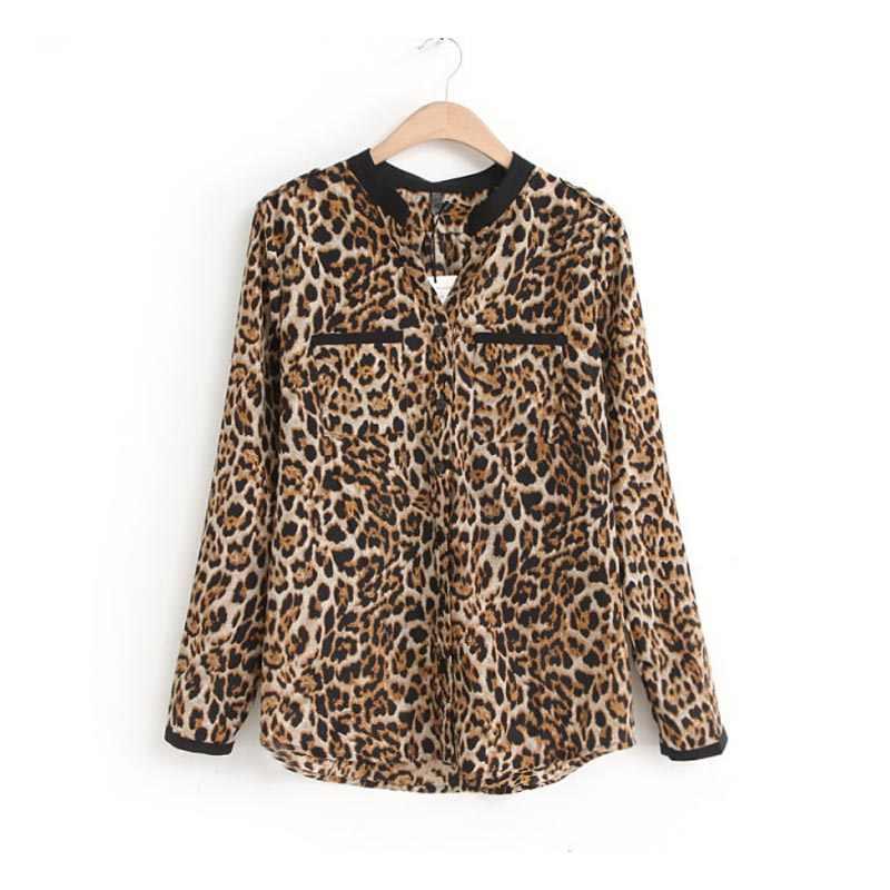 Feitong 2019 top femmes blouses d'été femmes chemises marques léopard imprimé blusas feminina outono mousseline de soie élégant bureau hauts