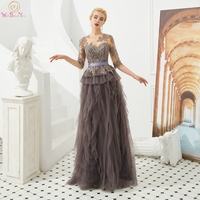 Brown Evening Dresses 2020 Three Quarter Sleeves Lace Appliques Mother Dresses A Line Ruffles Prom Gowns Formal Party 100% Real