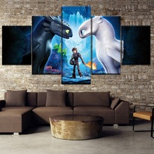 Cartoon Picture Wall Art Painting Canvas 5 Panel Movie How To Train Your Dragon Posters Toothless Print Home Decor Frame