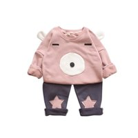 Baby Girl Winter Clothing Sets 3D Bear Image With Ears And Face Pattern Pants With T