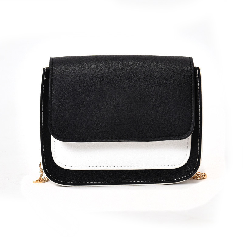 New Arrival Women Female Shoulder Bag High Quality PU Leather Metal Chain Hit Color Lady Casual Crossbody Messenger Bags LXX9