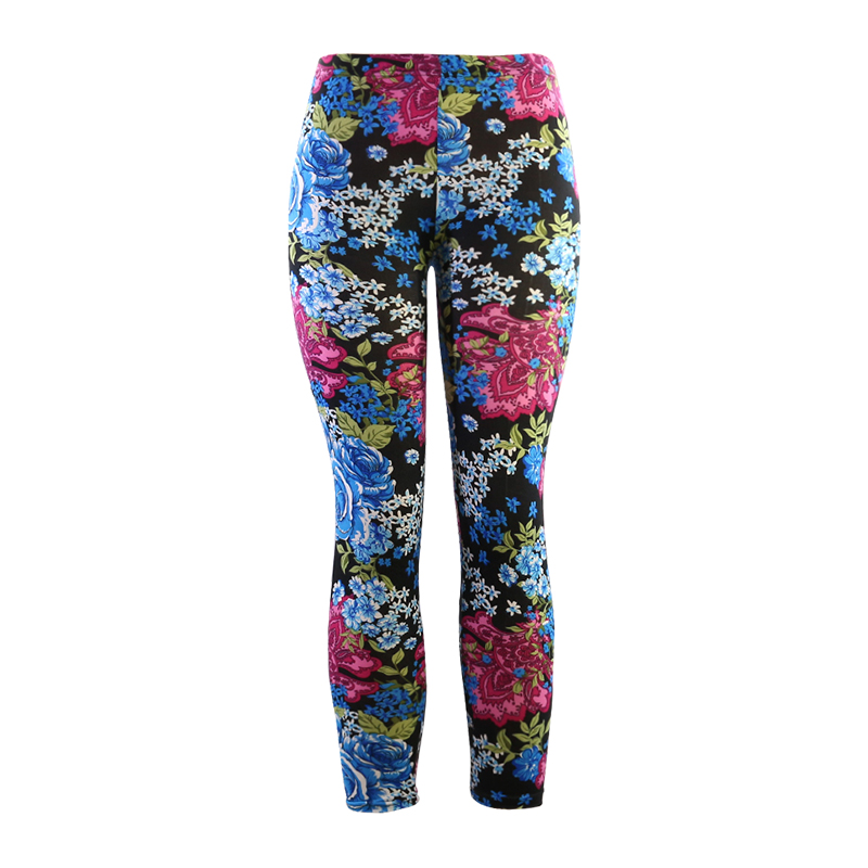 Yesello High Quality Print Flower Casual   Legging   Elasticity Leggins Skinny Elasticity Material Women Trouser Push Up   Legging