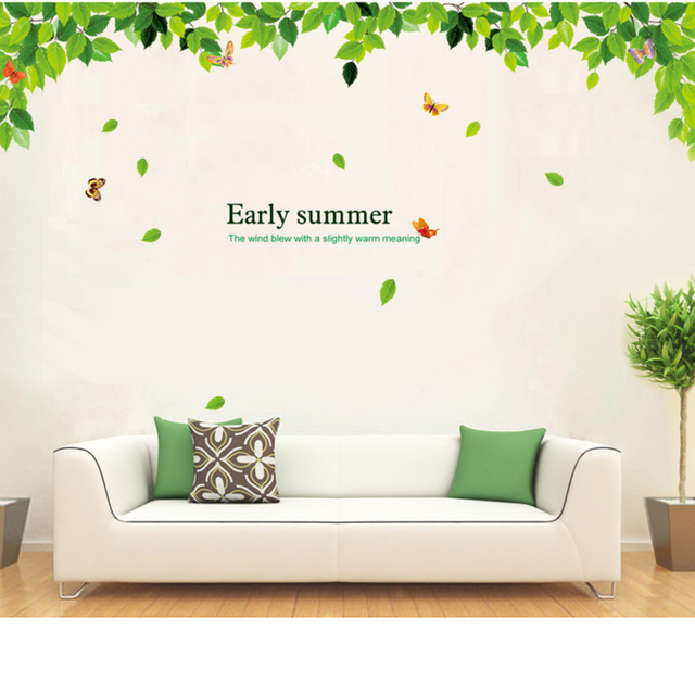 Summer Green Tree Flying Butterfly Wall Stickers For Kids Rooms Wall Decals  Living Room Bedroom TV