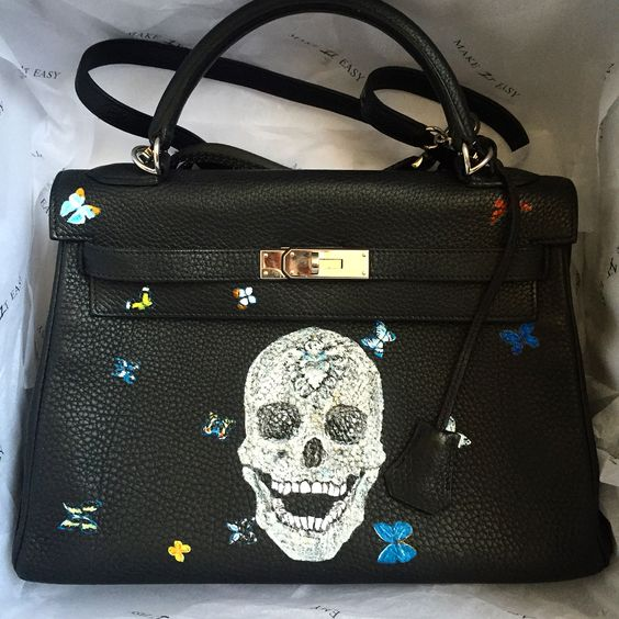 2017 New Handpainted Graffiti Paintings Skull Head Pattern Red leather briefcases for women Genuine Leather 28CM Halloween gift