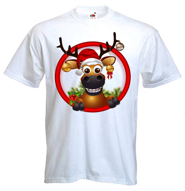 CHRISTMAS REINDEER T-SHIRT - Gift Present Novelty Santa Claus Rudolph Father Comical Shirts MenS