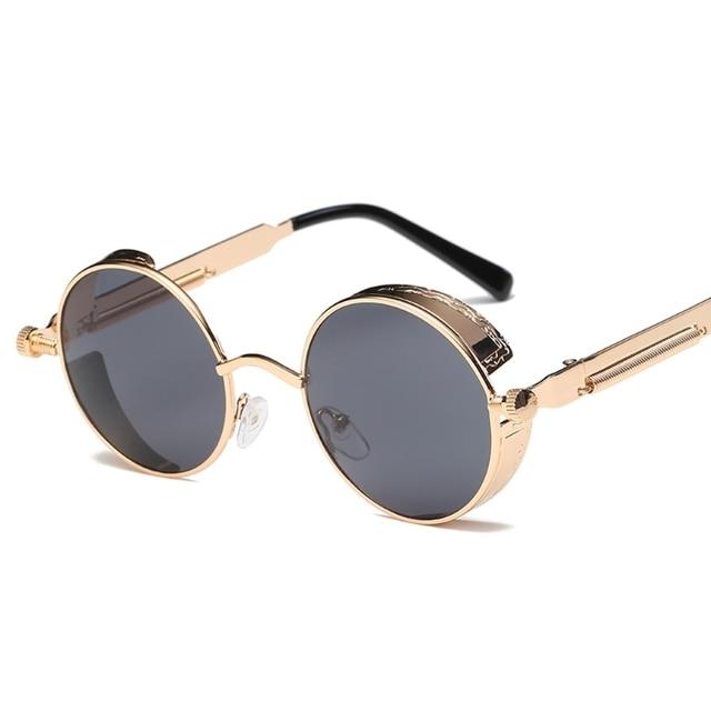 Hot Cool Gothic Steam Punk Mens Sunglasses Vintage Metal Men Coating Mirror Sunglasses Women Round Sun Glasses Retro UV400 Shades VSWPlCeL