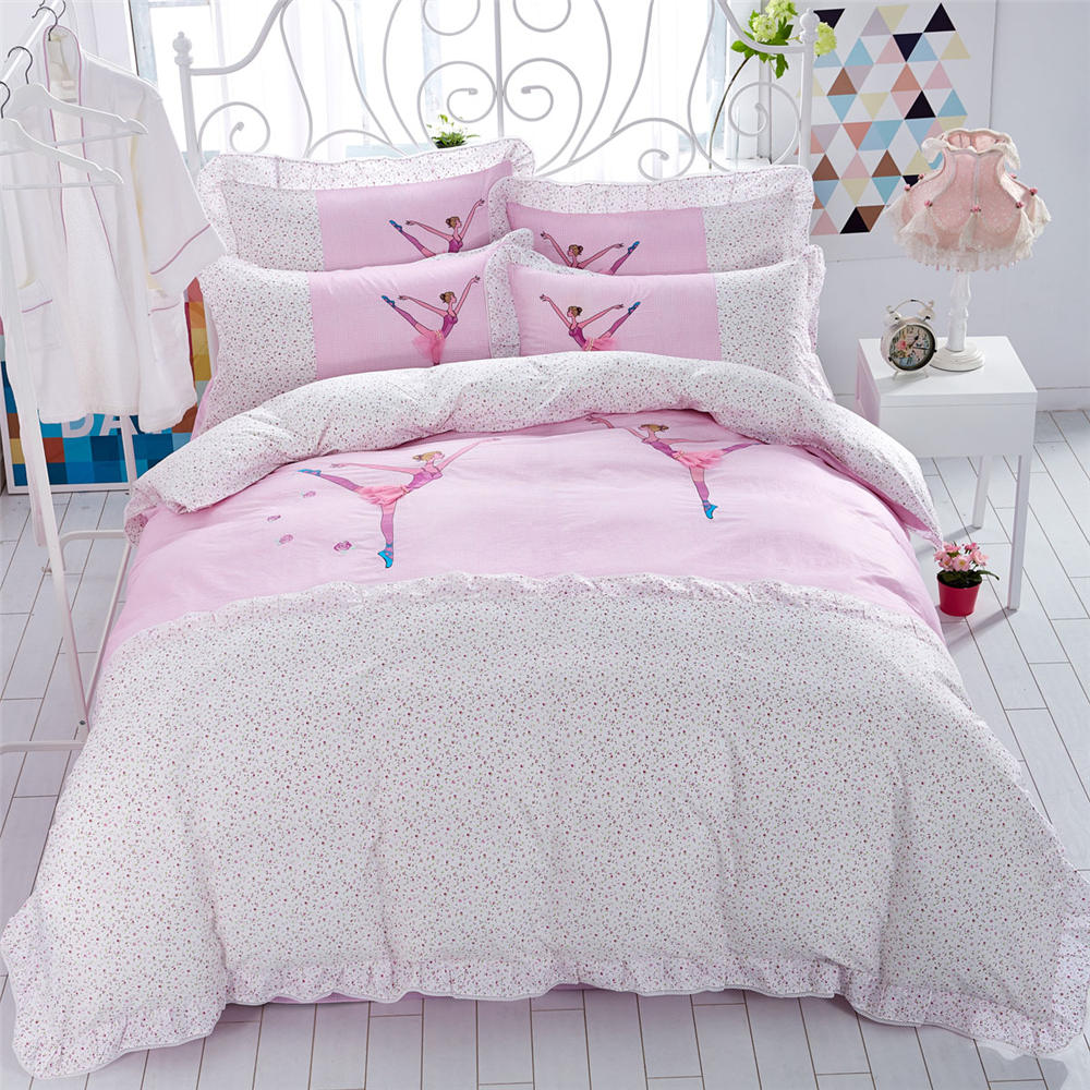 Bed sheet set with quilt - Girls Ballet Lace Bedding Bed Sets 100 Cotton Embroidery Jacquard Comforter Duvet Cover Set Purple