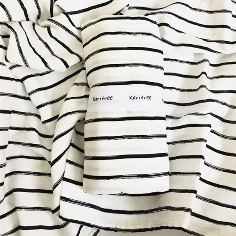 Black White Print Newborn 47 X 47 Inch Baby Muslin Swaddle Blankets Baby Swaddle Blankets Bamboo Cotton Infant Bath Towel Wrap