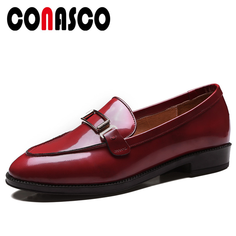 Pompes rouge Noir Base Cuir Chaussures Véritable 1 Talons marron Automne En Printemps Conasco Femmes Mode Métal Boucle Qualité Femme De Carré Décoration wq1WfHX