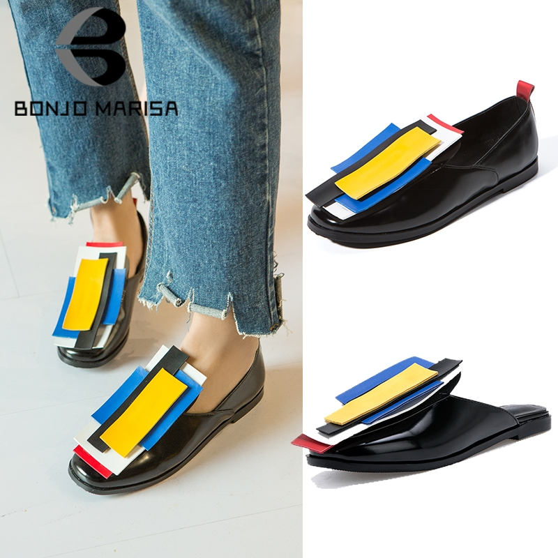 BONJOMARISA Brand Colored Flats Women Spring 2019 Large Size 32-43 Hot Sale Casual Low Heels Women Shoes Woman Slip-on Date ShoeBONJOMARISA Brand Colored Flats Women Spring 2019 Large Size 32-43 Hot Sale Casual Low Heels Women Shoes Woman Slip-on Date Shoe