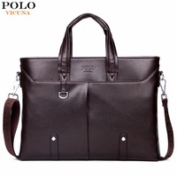 VICUNA POLO Famous Brand Simple Mens Leather Briefcase Bag Solid Large Business Man Bag Laptop Handbag