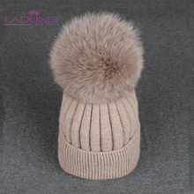 Fox Pompoms Hats for Women Solid Color Removable fur pompon ball wool knitted skullies beanies Warm hat 2019 autumn winter hat