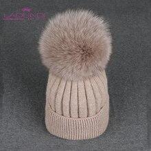 שועל Pompoms כובעי עבור נשים מוצק צבע נשלף פרווה פונפון כדור צמר סרוג skullies בימס 2019 סתיו חורף כובע