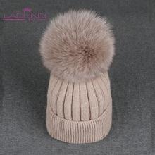キツネポンポン帽子女性ソリッドカラーリムーバブル毛皮のポンポンボールウールニット skullies ビーニー暖かい帽子 2019 秋冬帽子