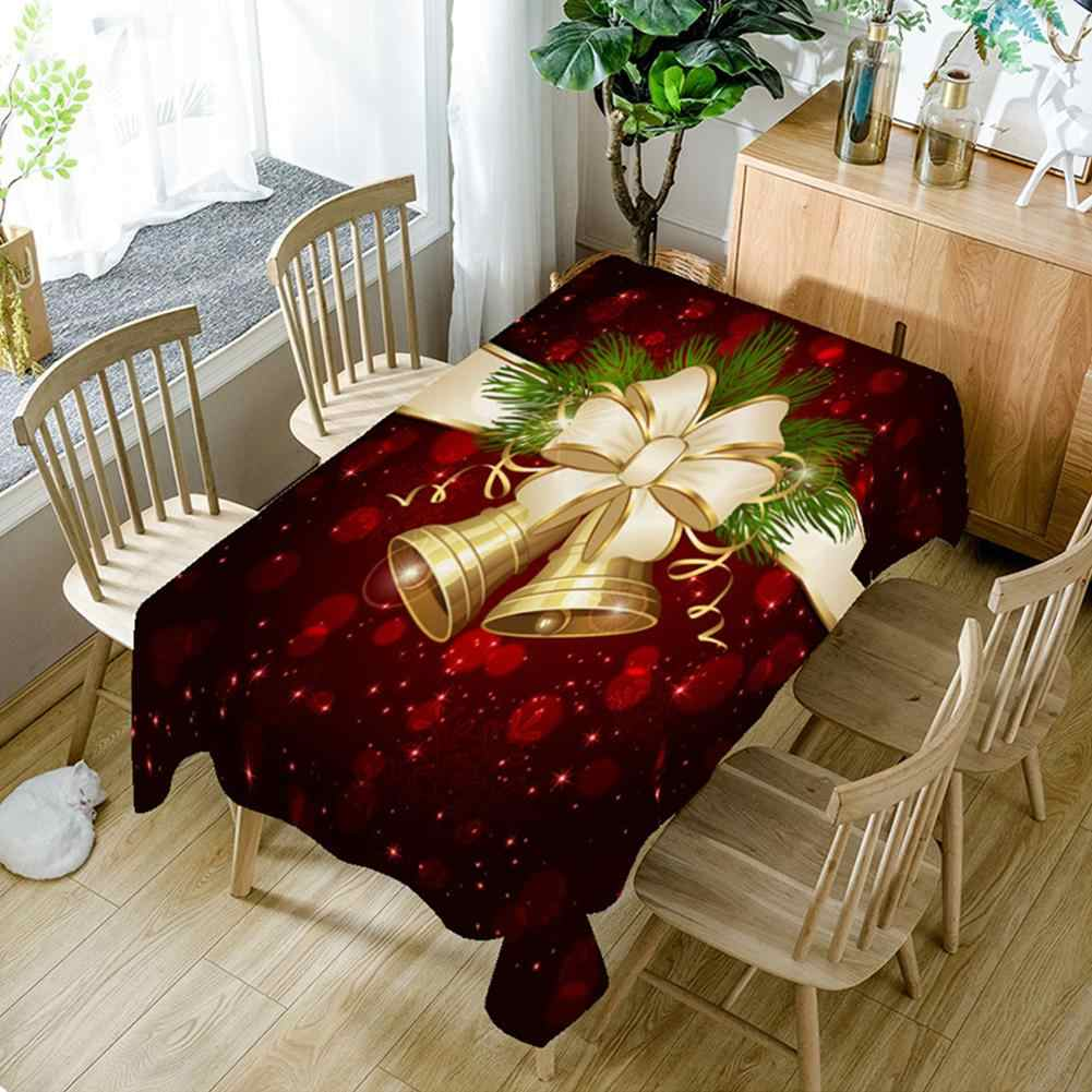 Christmas Bell 3D Printed Pattern Rectangular Tablecloths  Picnic Dustproof Table Cover Tea Machine Cloth Bedside Cabinet Mat