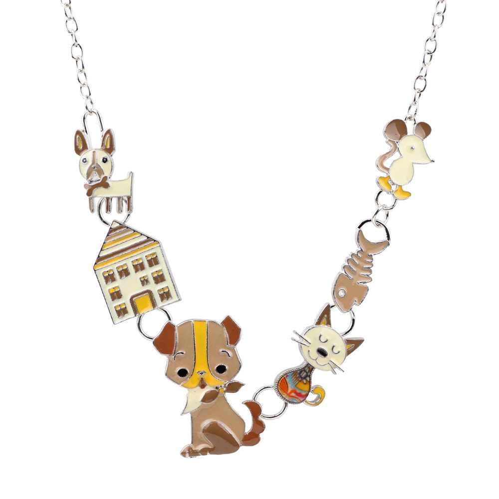 Bonsny בית כלב חתול עכבר דגי אמייל שמירה על שרשרת קולר שרשרת תליון אופנה חדשה צווארון בעלי חיים תכשיטים לנשים