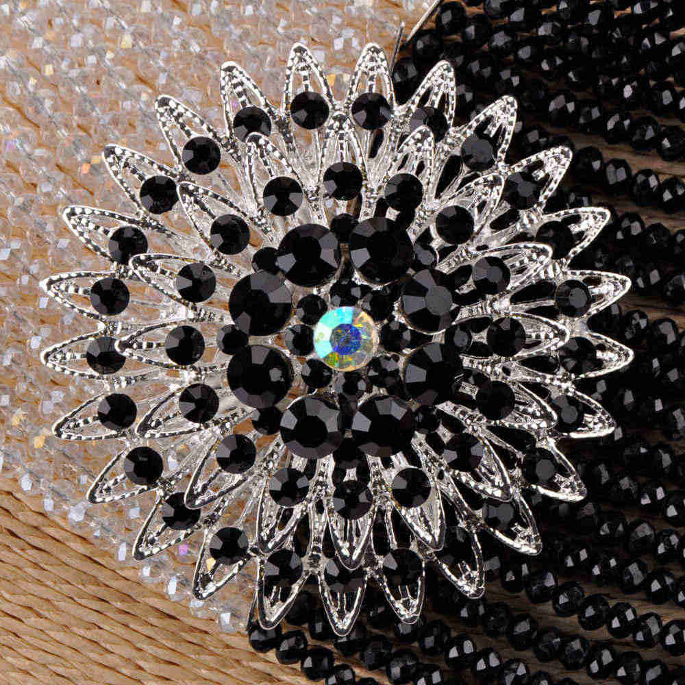 Ручной работы 25 слоев Ясно AB черный костюм Африканский комплект ювелирных изделий Кристалл бисером в нигерийском стиле Свадебная вечеринка цепо