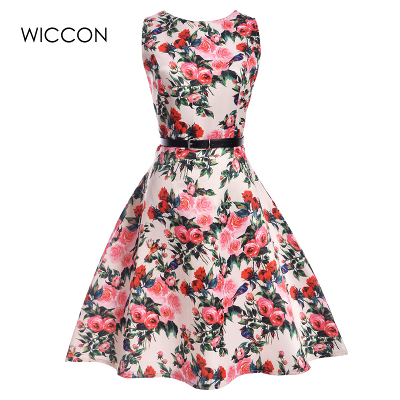 summer new dress women retro European style defined high waist sleeveless print a-line knee length woman dresses large hem slim
