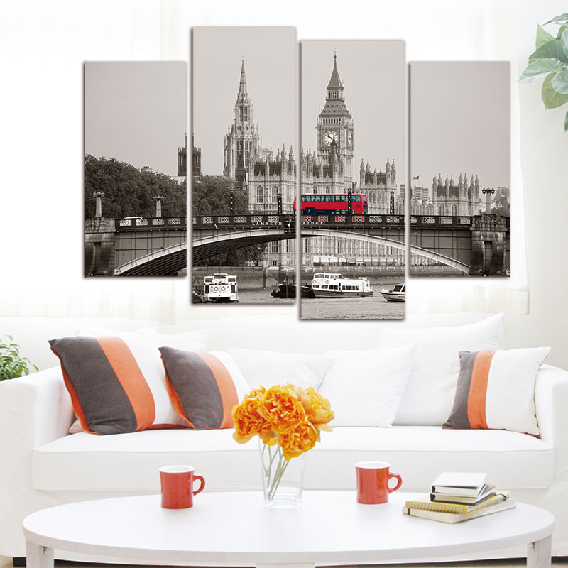 4 piece london red bus canvas print oil painting home for Home decorations london