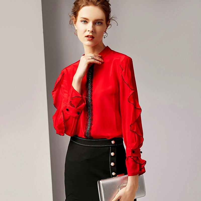 R6055 nouveau 2019 vêtements col rond à manches longues couleur Pure Vintage 100% soie Lotus-feuille Blouse printemps femmes chemises