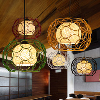 restaurant hollow iron pendant lamps shade industrial wind single color iron cage dining room hanging lamp FG427