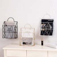 Nordic Book Shelf Gold Storage Baskets with Handle Modern Desktop Books Magazines Organization Shelf Wall Metal Storage Basket